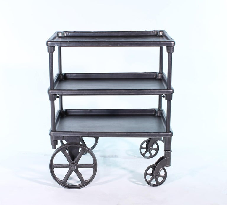 Cast Vintage Industrial Three-Tier Table Rolling Bar Cart For Sale