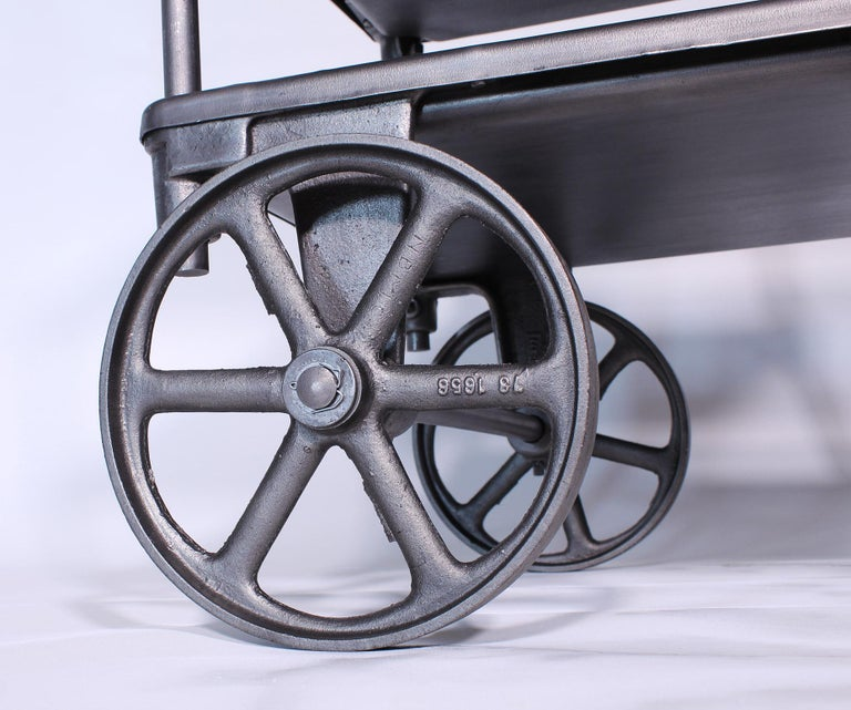 Vintage Industrial Three-Tier Table Rolling Bar Cart For Sale 7