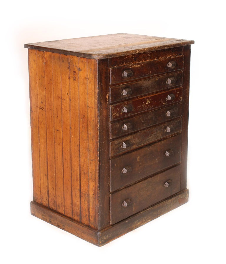 Distress Cabinets: Vintage Industrial Distressed Wooden Flat File Factory