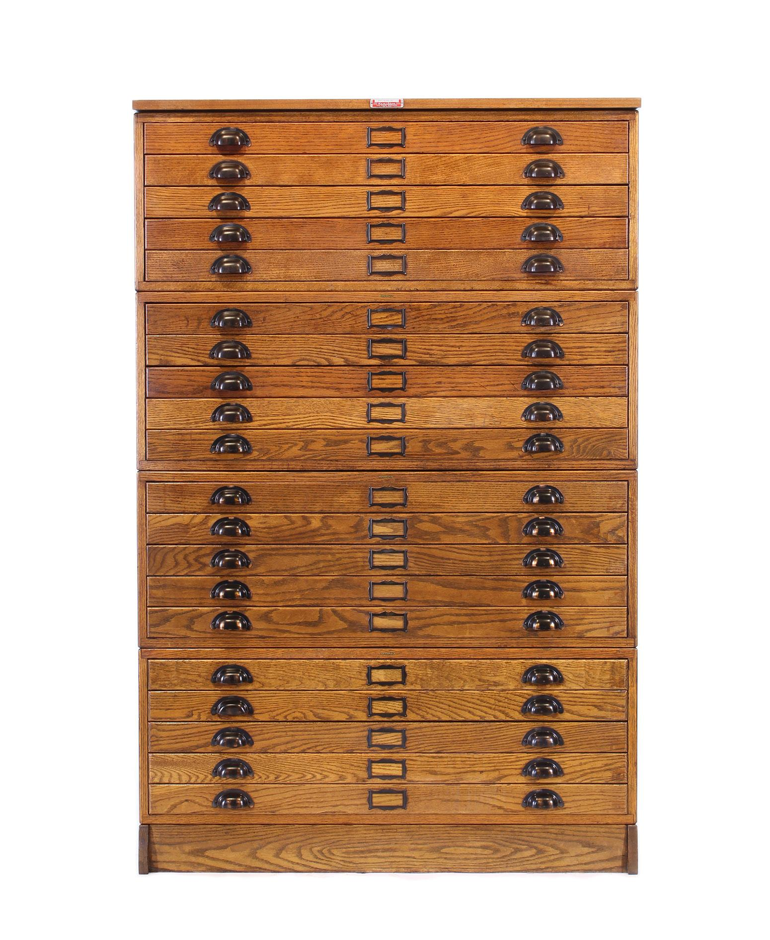 Genial Vintage Hamilton Oak 20 Drawer Flat File Storage Cabinet. In Six Sections,  Four Cabinets