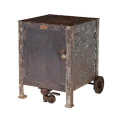 Vintage Industrial Steel Textile Machine Works Riveted Rolling Cabinet 2 of 2