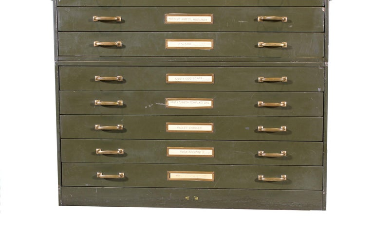 Brass Vintage Army Green Steel Flat File Map and Blueprint Cabinet by Steel Age For Sale