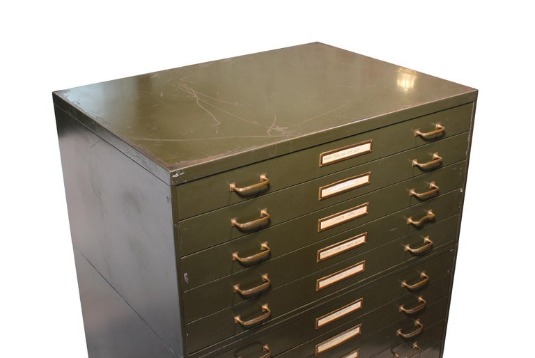 Vintage Army Green Steel Flat File Map and Blueprint Cabinet by Steel Age For Sale 3