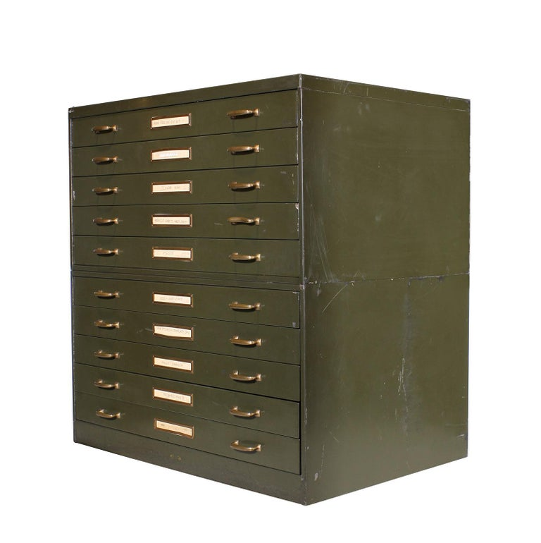 Industrial Vintage Army Green Steel Flat File Map and Blueprint Cabinet by Steel Age For Sale