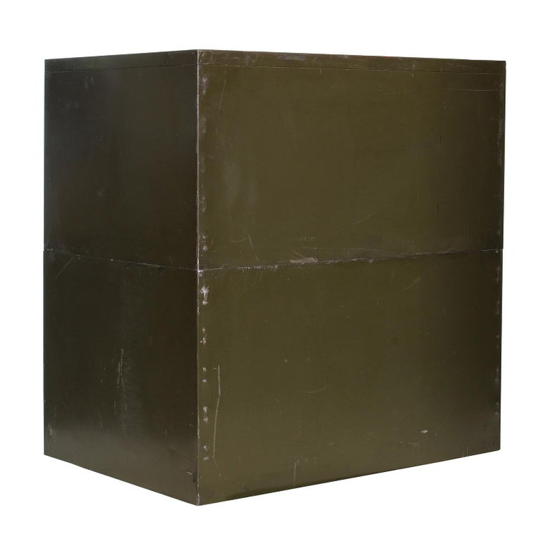 Vintage Army Green Steel Flat File Map and Blueprint Cabinet by Steel Age For Sale 7