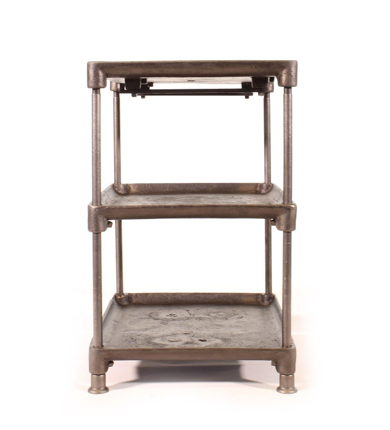 Industrial Three-Tier Cast Iron Table For Sale