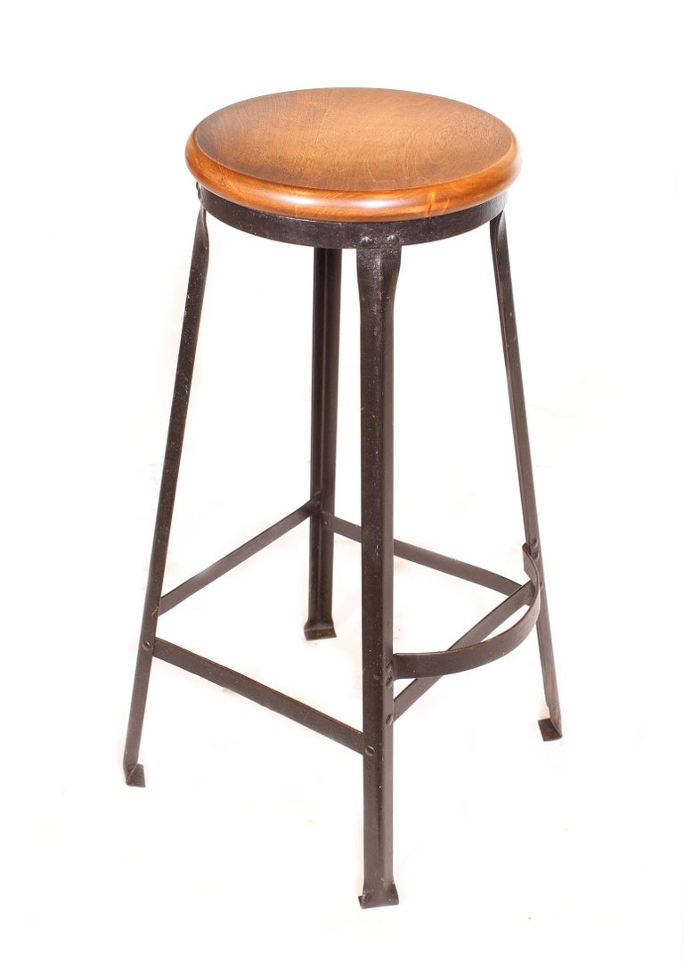 Factory Shop Bar Stool In Distressed Condition For Sale In Oakville, CT