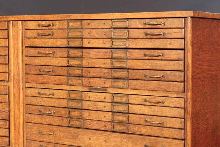 Vintage Oak Flat File Cabinet Kitchen Island For Sale 5