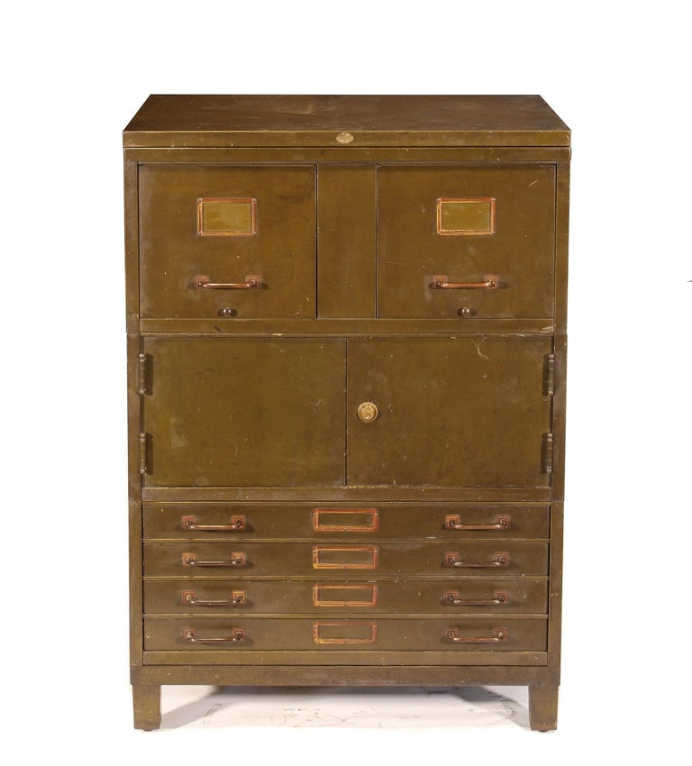 20th Century Vintage Industrial Army Green Art-Metal Combination Flat File and Filing Cabinet For Sale