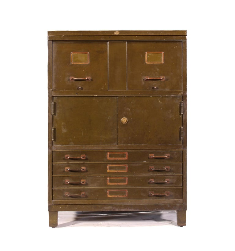 Vintage Industrial Army Green Art-Metal Combination Flat File and Filing Cabinet For Sale 1