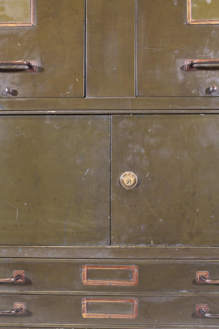 Vintage Industrial Army Green Art-Metal Combination Flat File and Filing Cabinet For Sale 9