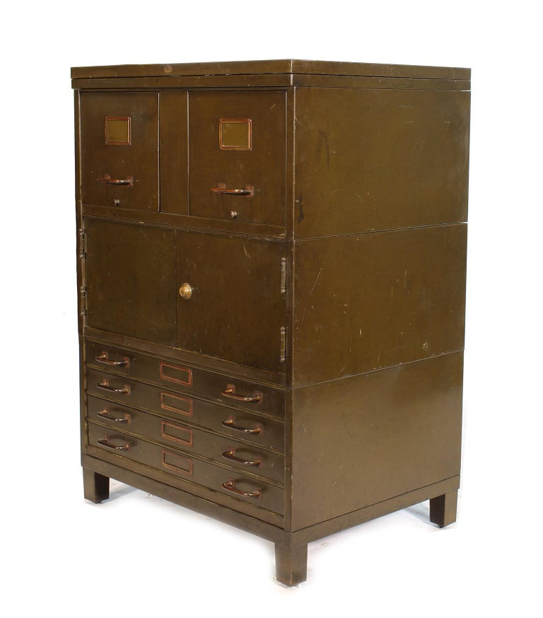 Vintage art metal filing cabinet with a storage compartment and flat file map storage. Measures 32 3/4