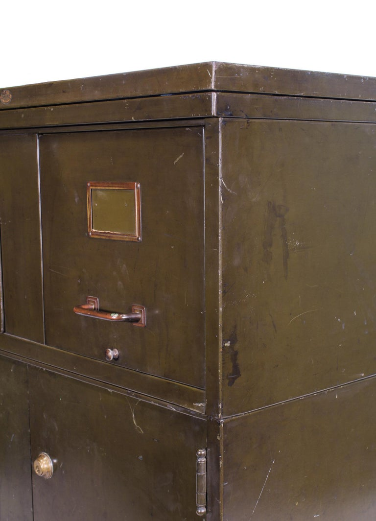 Vintage Industrial Army Green Art-Metal Combination Flat File and Filing Cabinet For Sale 12
