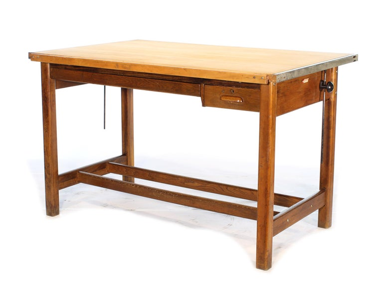 American Vintage Hamilton Oak Industrial Draftsman's Desk For Sale