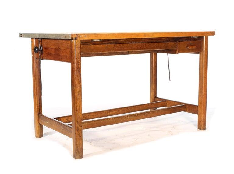 Vintage Hamilton Oak Industrial Draftsman's Desk For Sale 2