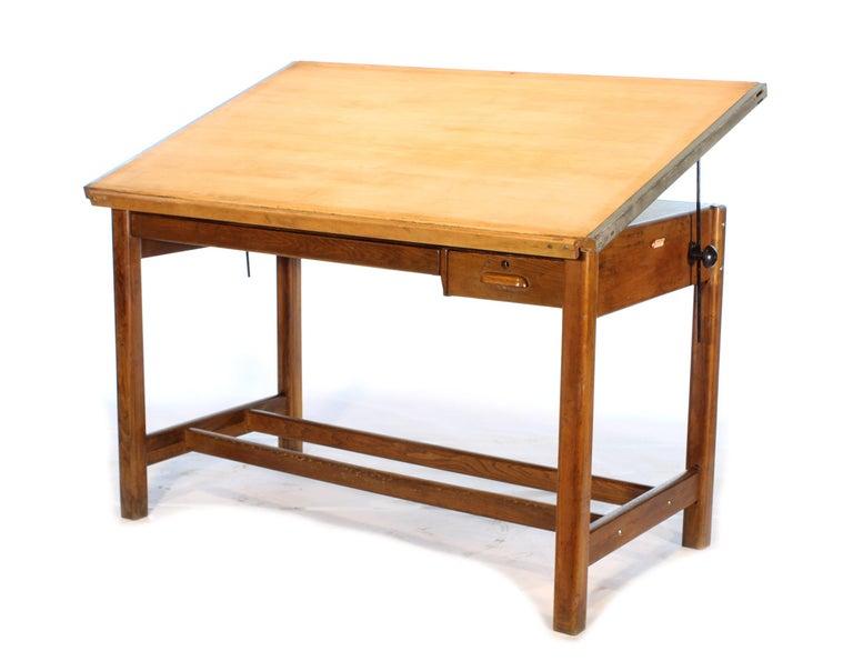 Vintage Hamilton Oak Industrial Draftsman's Desk In Distressed Condition For Sale In Oakville, CT