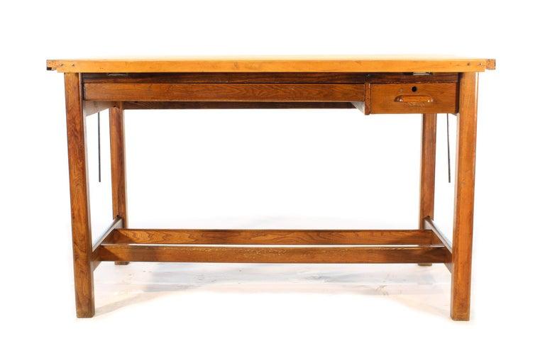 20th Century Vintage Hamilton Oak Industrial Draftsman's Desk For Sale