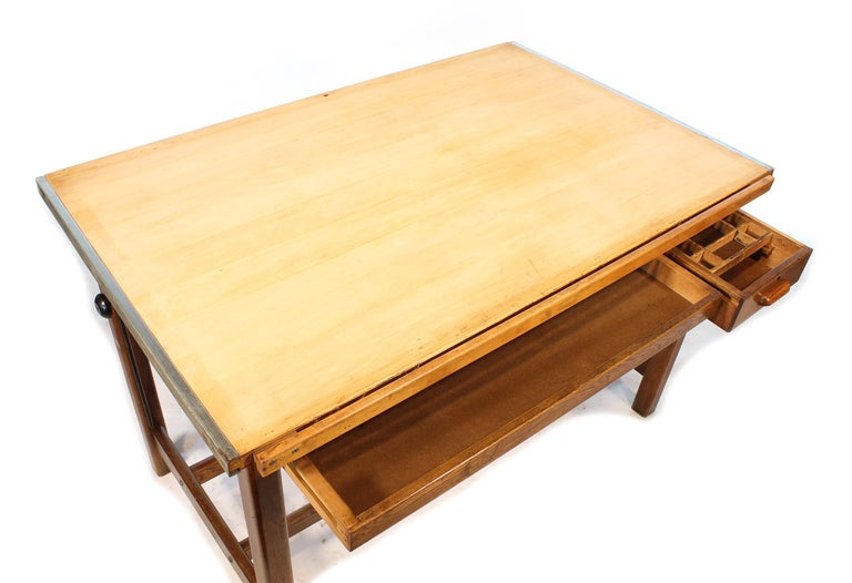 Vintage Hamilton Oak Industrial Draftsman's Desk For Sale 8