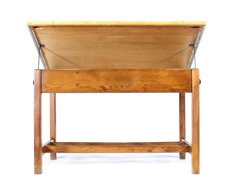 Vintage Hamilton Oak Industrial Draftsman's Desk For Sale 3