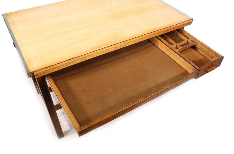 Vintage Hamilton Oak Industrial Draftsman's Desk For Sale 5