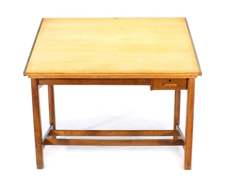 Vintage Hamilton Oak Industrial Draftsman's Desk For Sale 6