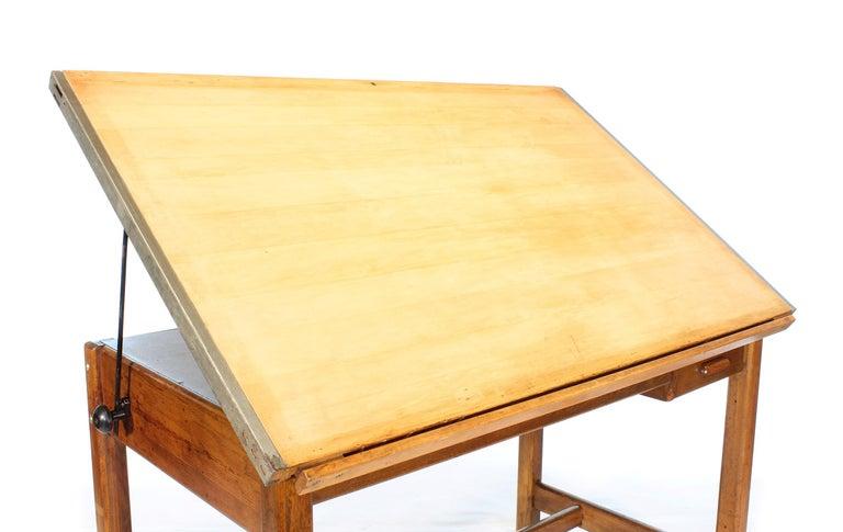 Vintage Hamilton Oak Industrial Draftsman's Desk For Sale 7
