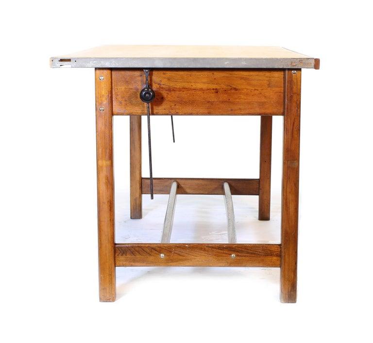 Vintage Hamilton Oak Industrial Draftsman's Desk For Sale 9