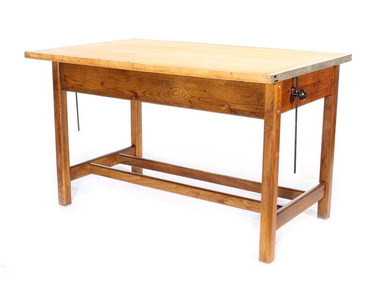 Metal Vintage Hamilton Oak Industrial Draftsman's Desk For Sale