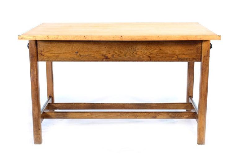 Vintage Hamilton Oak Industrial Draftsman's Desk For Sale 1