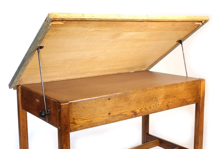 Vintage Hamilton Oak Industrial Draftsman's Desk For Sale 4