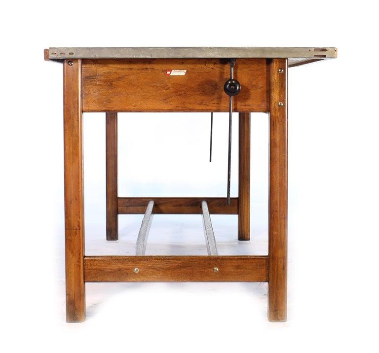 Vintage Hamilton Oak Industrial Draftsman's Desk For Sale 10