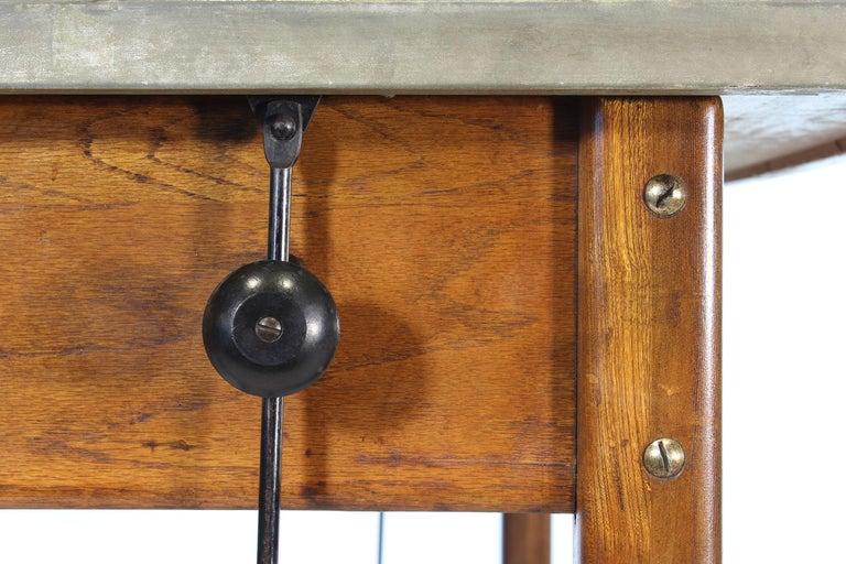 Vintage Hamilton Oak Industrial Draftsman's Desk For Sale 11