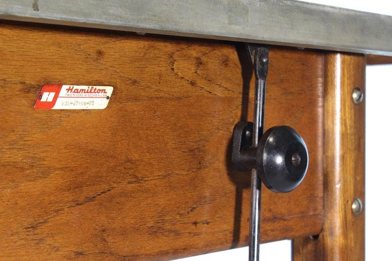 Vintage Hamilton Oak Industrial Draftsman's Desk For Sale 12