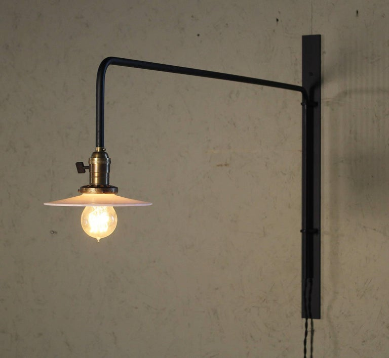American Industrial Swing Out Wall Sconce Light For Sale