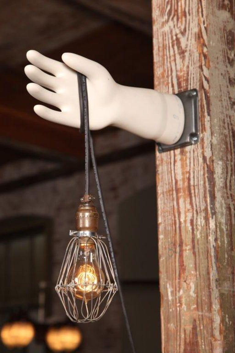 Industrial Hand Glove Mold Wall Sconce For Sale
