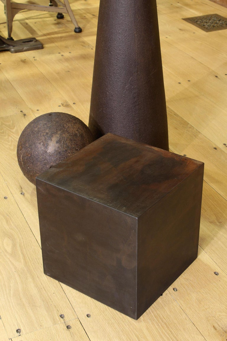 Industrial Art Sculpture 101, Cube, Sphere, Cone For Sale 2