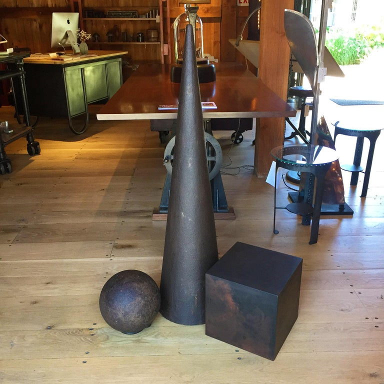 American Industrial Art Sculpture 101, Cube, Sphere, Cone For Sale
