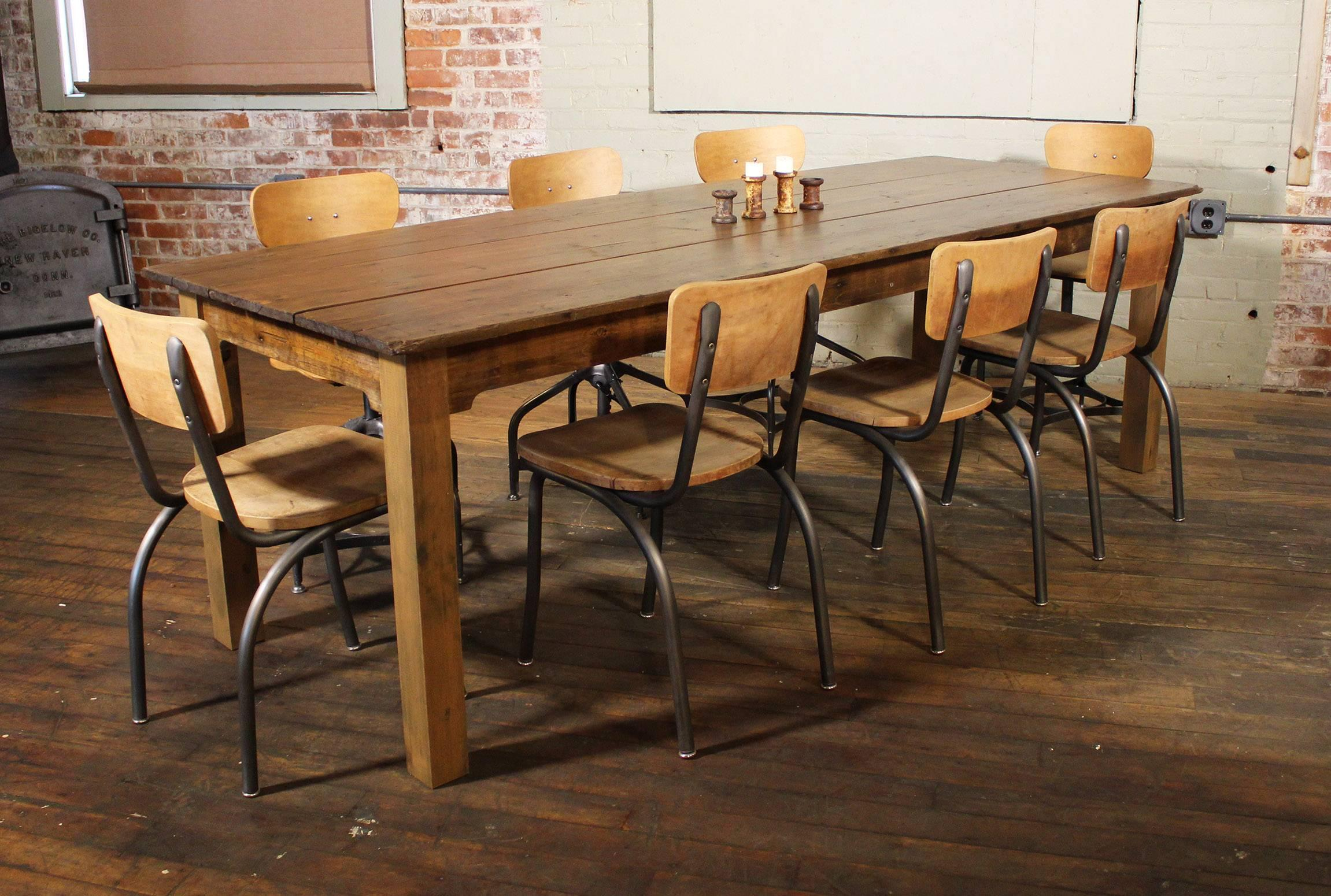 Reclaimed Tobacco Wood Farm / Dining / Country Harvest Table. The Pine Tops  Were Originally