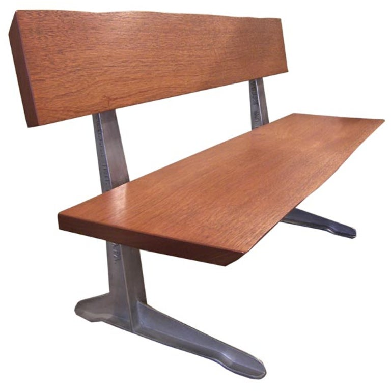 Free Form Mahogany Bench With 1950s Aluminum Park Bench Legs For