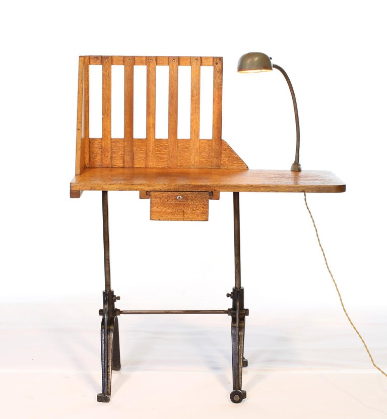 American Vintage Industrial Entryway Hall Table or Desk with Clamp-On Lamp For Sale