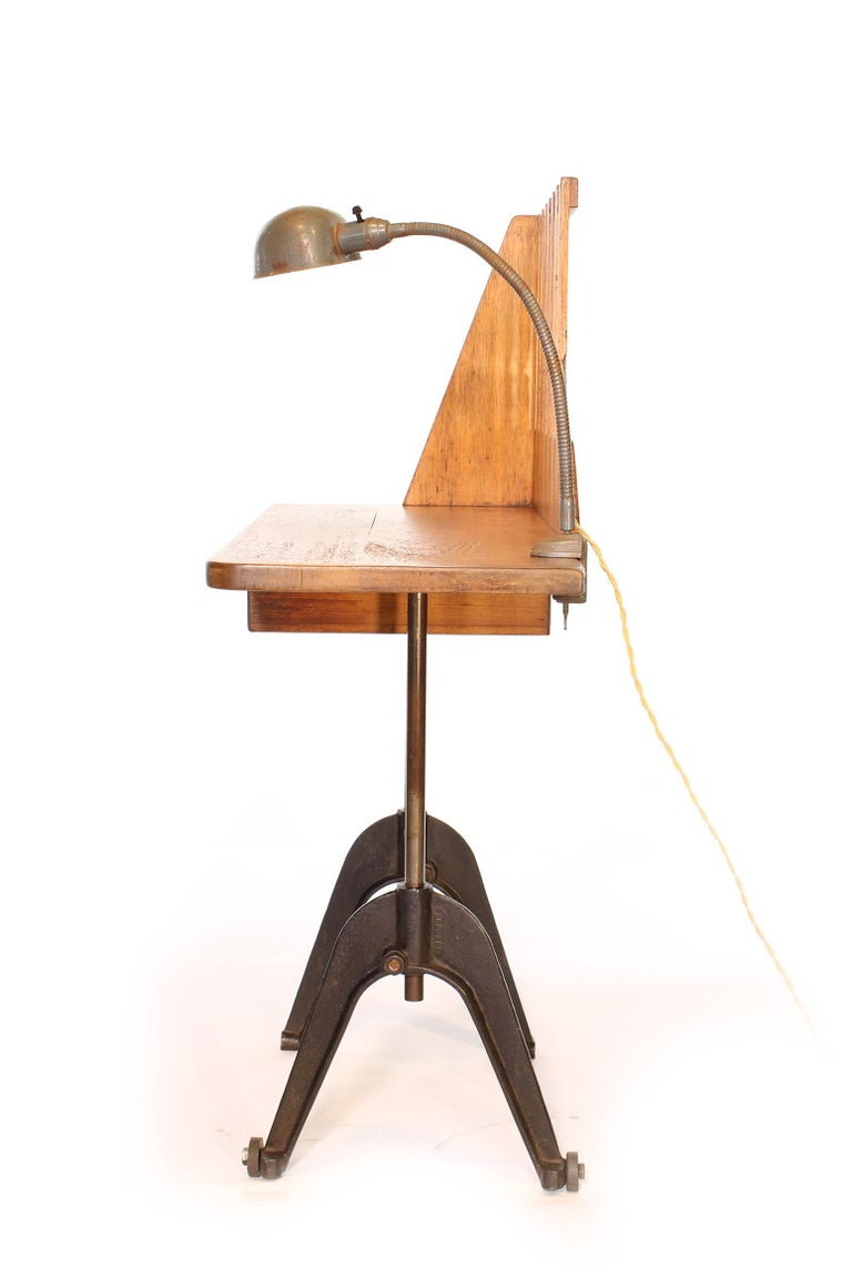 20th Century Vintage Industrial Entryway Hall Table or Desk with Clamp-On Lamp For Sale