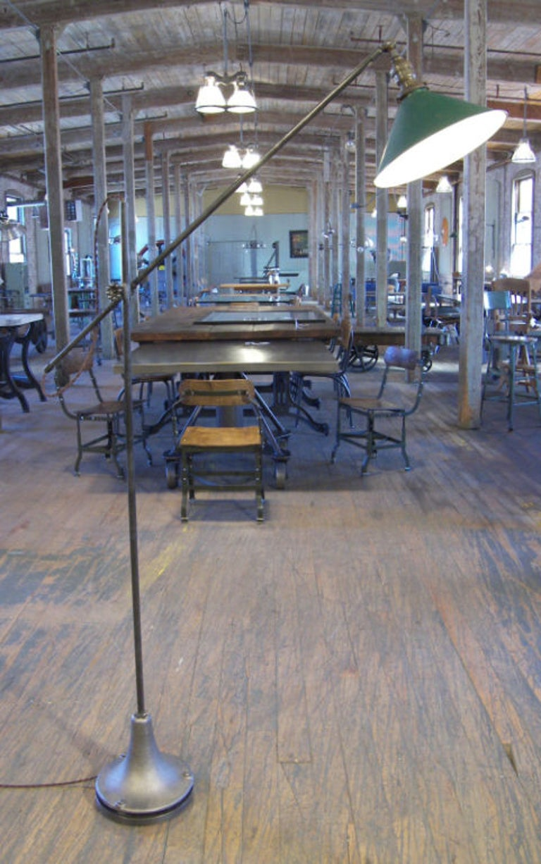 Bespoke Floor Lamp, Adjustable Vintage Industrial In Good Condition For Sale In Oakville, CT