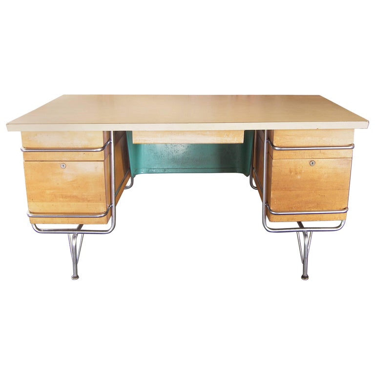 Heywood-Wakefield Desk, 1950s Mid-Century Modern Trimline Chrome and Wood For Sale