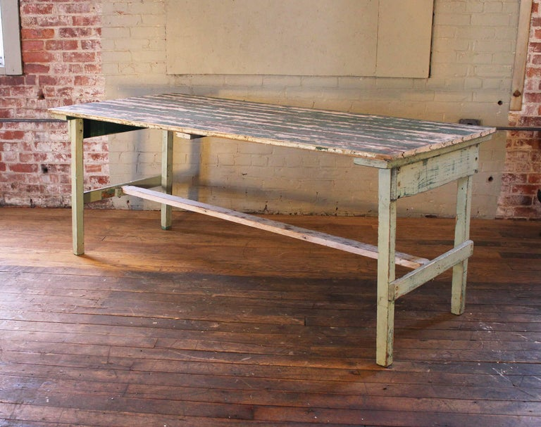 Country Distressed Farm Table, Authentic Vintage Harvest Style For Sale