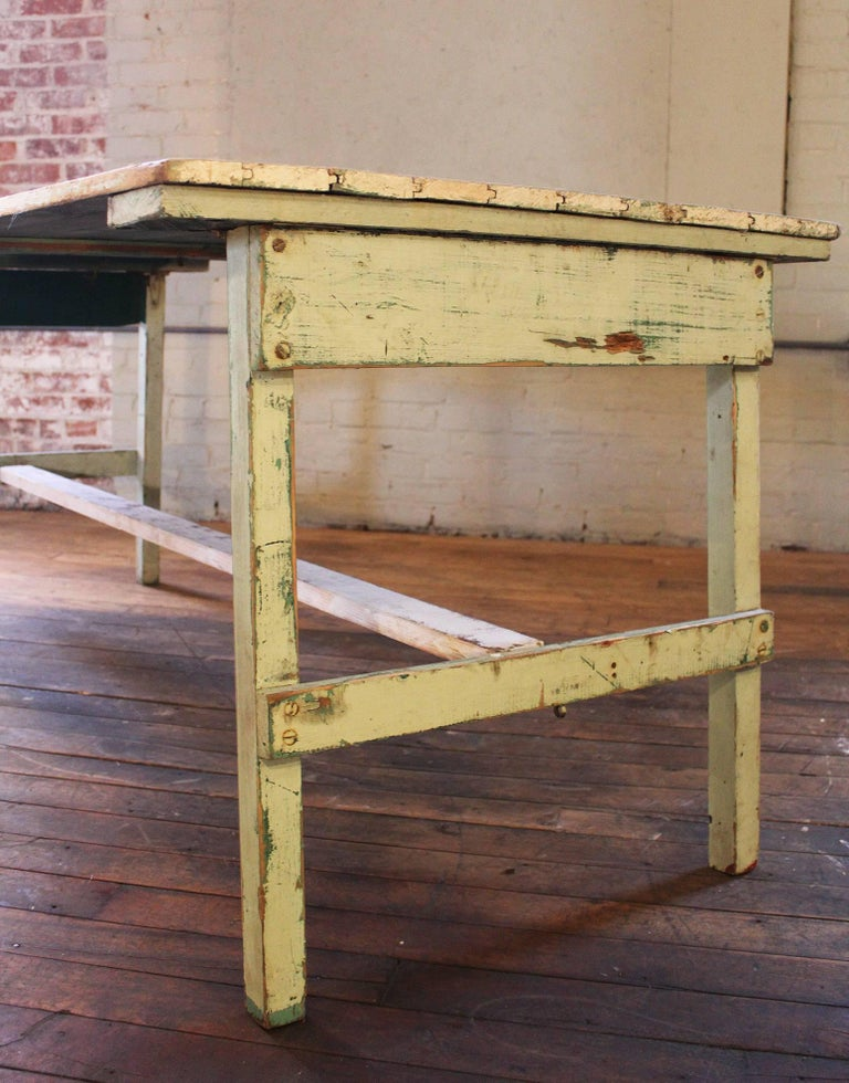 Metal Distressed Farm Table, Authentic Vintage Harvest Style For Sale