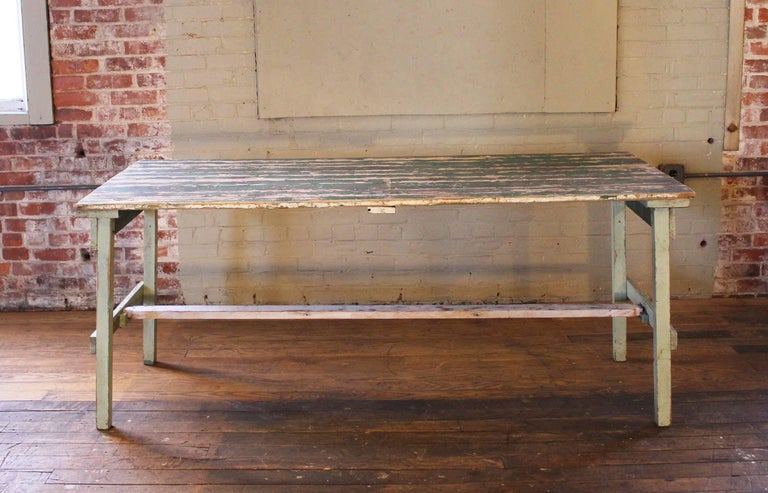 Distressed Farm Table, Authentic Vintage Harvest Style For Sale 1