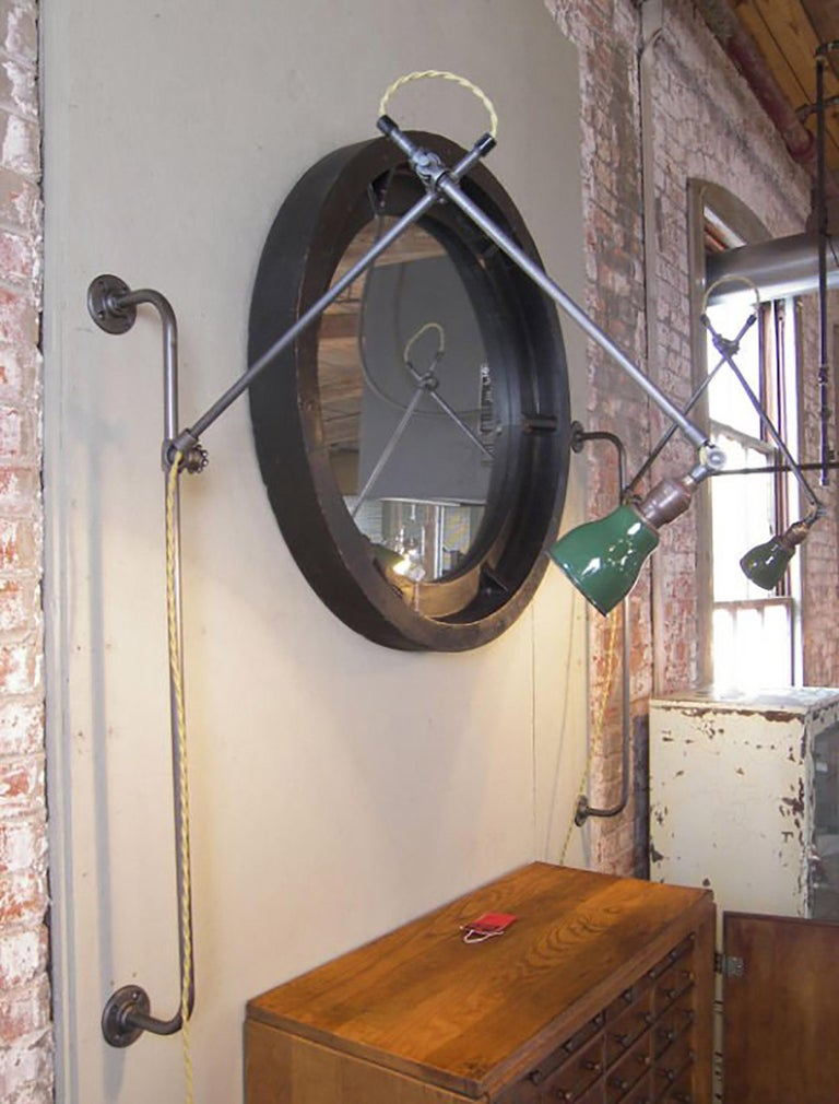 Metal Pair of Industrial Bedside Wall Lamps For Sale
