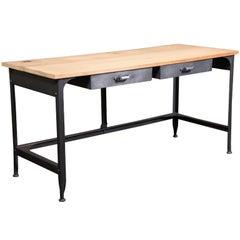 Student Work Desk Vintage Industrial, American Made, Steel, Metal and Wood