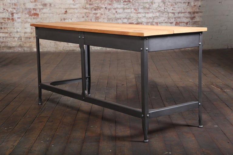 20th Century Student Work Desk Vintage Industrial, American Made, Steel, Metal and Wood For Sale