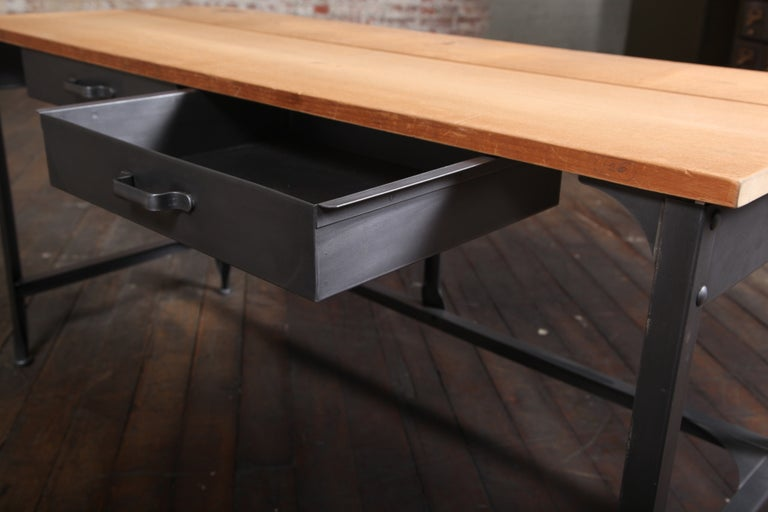 Student Work Desk Vintage Industrial, American Made, Steel, Metal and Wood For Sale 1